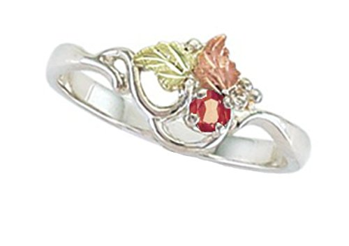 Created Ruby July Birthstone Ring, Sterling Silver, 12k Green and Rose Gold Black Hills Gold Motif, Size 3
