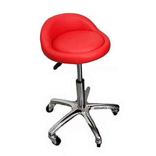 TRRYHZAG Leder Schreibtischstühle Drehbarer Arbeitsstuhl 360 ° drehbarer Barstuhl Höhenverstellbarer PU-Ledersessel - Rot