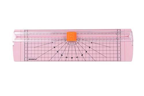 持ち運びに便利なRC4000ペーパーカッターは、名刺、紙、写真に使用できます。切断能力は70gのA4紙12枚で、色はピンクです