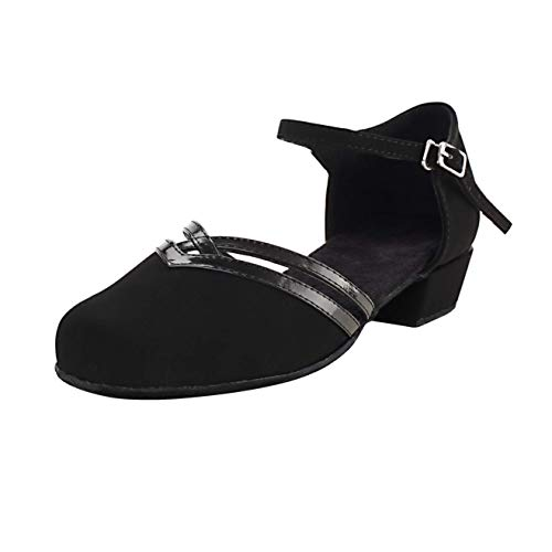 """Dress First Low Heel Close Toe Dance Shoes Latin Tango Ballroom Dance Shoes with Ankle Strap 1.2"""", Black, 9"""
