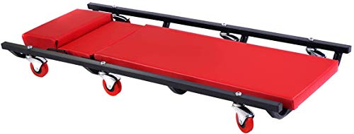 Nightcore Mechanic Car Creeper, 40' Padded Shop Garage Mechanic Rolling Crawler with Adjustable Headrest, Auto Floor Low Cart with 6 Universal Wheels, Rolling Creeper 300lbs Capacity, Red