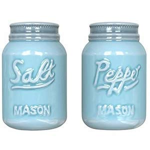 Comfify Vintage Mason Jar Salt & Pepper Shakers by Adorable Decorative Mason Jar Decor for Vintage, Rustic, Shabby Chic - Sturdy Ceramic in Aqua Blue