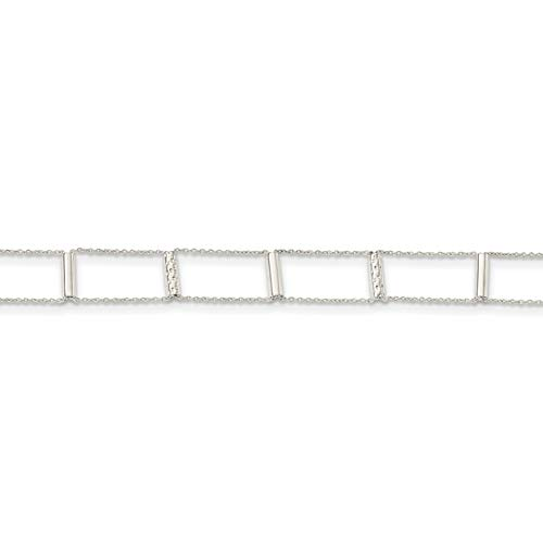 Ryan Jonathan Fine Jewelry Sterling Silver Tiered and Textured Bars Choker Necklace, 12.5' +1' Extender