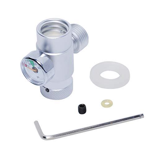 Poweka CO2 Adapter Druckminderer Edelstahl Mini Gasregler für Sodastream Zylinder, Silver mit Meter