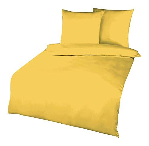 Kaeppel Biber Bettwäsche Uni Gelb Sand Lind Hellblau Terra Weiß Rot Anthrazit Leinen Silber Einfarbig, Größe:135x200cm Bettwäsche, Farbe:Gelb