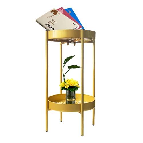3-H Porte Plante Fer Forgé, Étagère Plante avec 2 Tablettes, Support Pot de Fleurs en Forme de Chariot, Parfait pour Maison Jardin Patio Terrasse ou Balcon(50cm)
