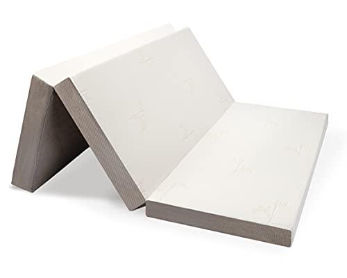 Milliard Colchón Plegable de Tres Partes, 10cm Profundidad, Para Huéspedes con Funda Extraíble Removible y Base Antideslizante (Doble 190 x 135 cm)