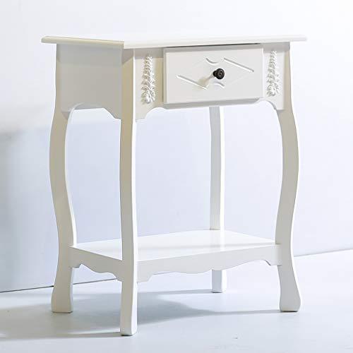 Teng Peng- Comodino Notte Camera da Letto Stand-Locker con 1 cassetto - (Bianco) Comodino da Spazio provinciale Moderno Multiuso Comodino/Divano Tavolo/Scrivania Lampada da Tavolo Comodino per Mob