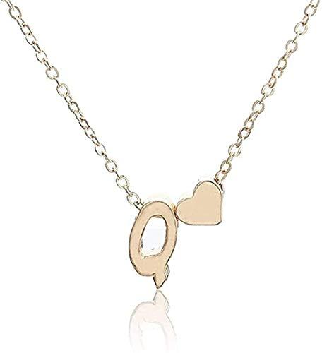 NC110 Collar pequeño y Simple Collar de Cadena de Oro Letra AZ Oro Amor corazón Colgante Collar Mejor Regalo de cumpleaños joyería para niñas