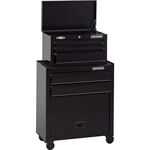 CRAFTSMAN 5-Drawer Ball-Bearing Steel Tool Chest Combo (Black) 1000 Series 26-in W x 44-in H