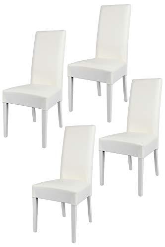 Tommychairs - Set 4 sillas Luisa para Cocina, Comedor, Bar y Restaurante, solida Estructura en Madera de Haya y Asiento tapizado en Polipiel Blanco