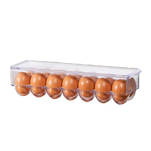 longrep Eierhalter Kühlschrank, Praktische Eierbox Aus Kunststoff – Eierbehälter Mit Deckel Für 14 Eier – Transparent, 32,5 x 10 x 8 cm
