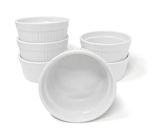 White Porcelain 6-Piece Ramekin Set, 18oz. Dishwasher, Microwave and Oven Safe!