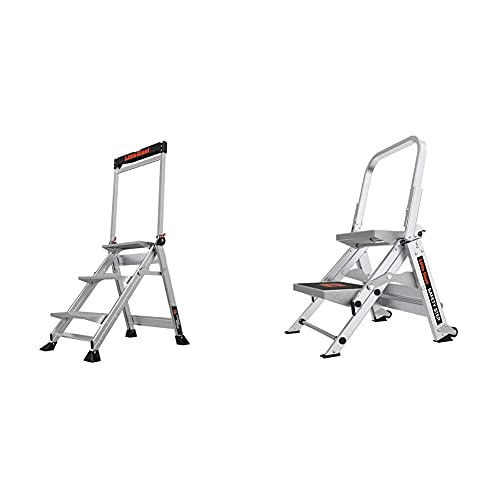 Little Giant Ladders, Jumbo Step, 3-Step, 2 Foot, Step Stool & Little Giant Ladders, Safety Step, 2-Step, 2 Foot, Step Stool, Aluminum, Type 1A, 300 lbs Weight Rating, (10210BA)