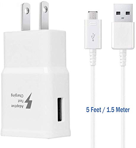 Adaptive Fast Charger Kit Compatible Samsung Galaxy S6/ S7/ Edge/Plus/Active/Note 5 / Note 4, USB 2.0 Fast Wall Charger Adapter and Micro USB Cable
