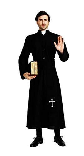 EVRYLON Disfraz de sacerdote, obispo prlat, iglesia religiosa exorcista, disfraz de carnaval, accesorio para mscaras, hombre, color negro, talla nica