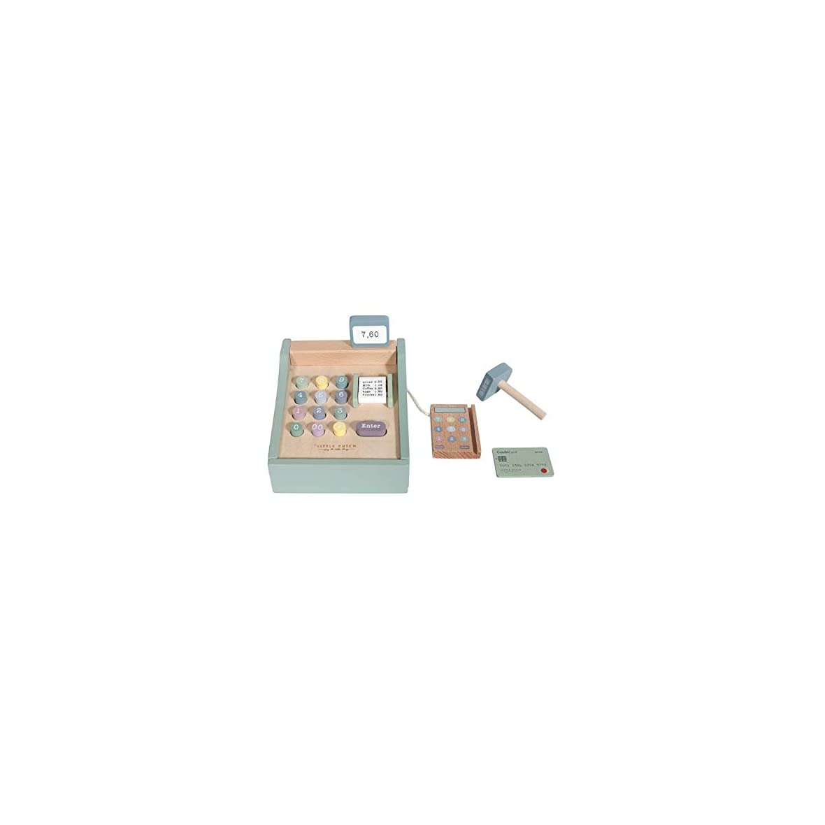 Little-Dutch-Caja-registradora-de-Madera-con-escaner-Color-Verde-Menta-para-ninos-36m