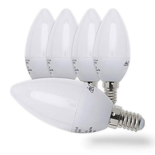 Preisvergleich Produktbild B.K.Licht 5er Set 5W LED-Birnen,  Energiesparende Leuchtmittel mit E14 Fassung für drinnen,  Kerzenform,  5 x 470 Lumen,  3000K warmweiß