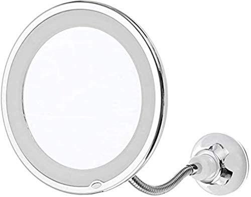LED Espejo de Maquillaje Aumento, Espejos de la vanidad de Maquillaje para Las Mujeres, 10X Ajustable con succión Fuerte para la Mesa de baño, Redondo Giratorio de Grados para Baño y Maquilla