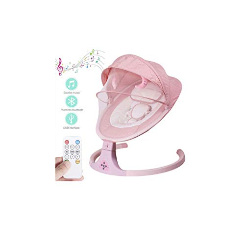 ZXLA Baby Bouncer, Smart Bluetooth Electric Cradle Crib Infant Electric Rocking Chair with Intelligent Remote Control and Music Diffuser, Soft Skin-Friendly Flannel Material,Pink
