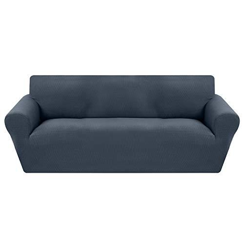 Funda de Sofá Ajustable de 3 Plazas,Tejido Jacquard de Poliéster Cubre Sofa Universal Cubierta de Muebles contra Mascotas Polvo,Desmontable y Lavable,Funda Protectora para Sofá(Gris&Azul,3 Plazas)
