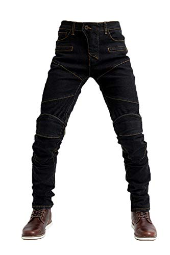 Tencasi Motorbike Mens Black Riding Trousers Spring Summer Jeans Racing Pants with Four Removable Protective Pads(Size M)
