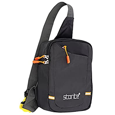 Storite Crossbody Shoulder/Chest Sling Bag for Men Women, Lightweight One Strap Sling Bag for Hiking Walking Biking Travel- (26x20x8 cm, Dark Grey with Orange zipper)