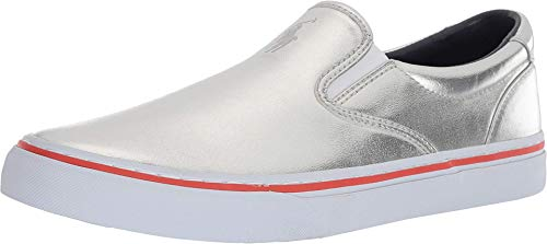 Polo Ralph Lauren Herren Thompson Iii Sneaker, Silber (Silver Synthetic Metallic Foil), 43 EU