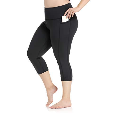 Cropped Yoga Pants for Women Plus Size Tummy Control Lift The Hip XL-4XL Black Capri Leggings