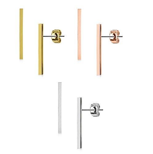 Donna 1?Coppia Beyoutifulthings Smooth Long bar argento orecchini orecchini in acciaio INOX in oro rosa e Acciaio inossidabile, colore: 3er Set je eine Farbe, cod. EA-008-Set