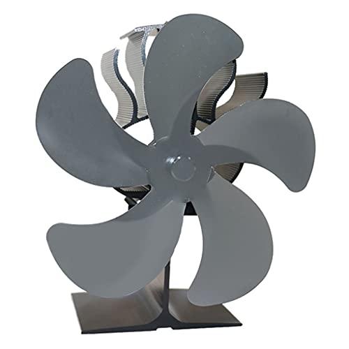 MERIGLARE Ventilador de Estufa Alimentado por Calor: Funcionamiento Silencioso 5 Aspas para Leña/Quemador de Leña/Chimenea: Distribución de Calor Eficiente - Gris
