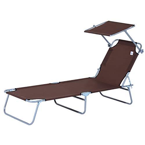 Outsunny Tumbona Hamaca Plegable con Parasol Inclinable Playa Piscina 187x58x27 cm Acero Marrón