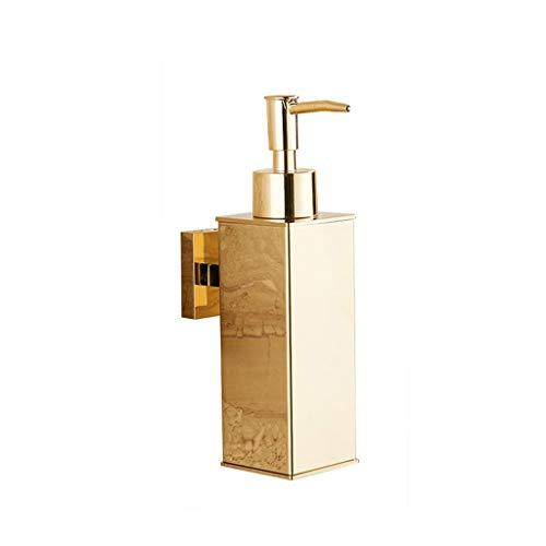 Dispensador de jabón cuadrado de acero inoxidable dorado montado en la pared para baño, cocina, hotel, dispensador de jabón líquido, dispensador de loción y jabón (color dorado)