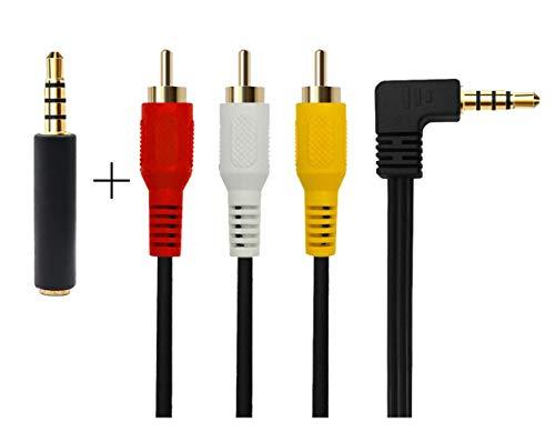 3,5 mm bis 3 RCA AV-Audio-und Videokabel für TV-Box / MP3 / PC/Kamera mit geschirmten 3,5 mm vergoldet 90 Grad Ellbogen, 3 RCA Stecker Audio und Videokabel(3,5 Ellenbogen 3 m)
