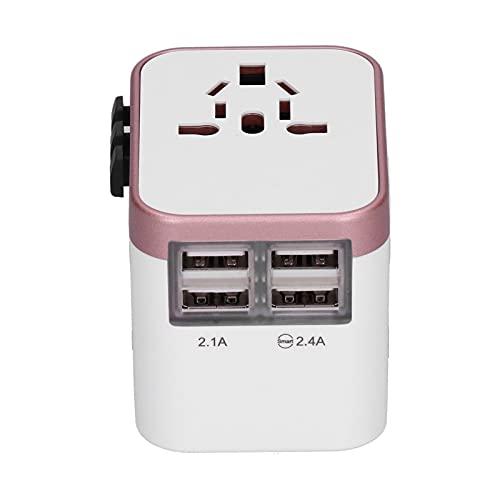 Atyhao Enchufe convertidor de Corriente, Adaptador de Corriente Internacional Enchufe de Viaje con 4 Puertos USB Enchufe convertidor de Cargador de Viaje Universal para Reino Unido(Oro Rosa)