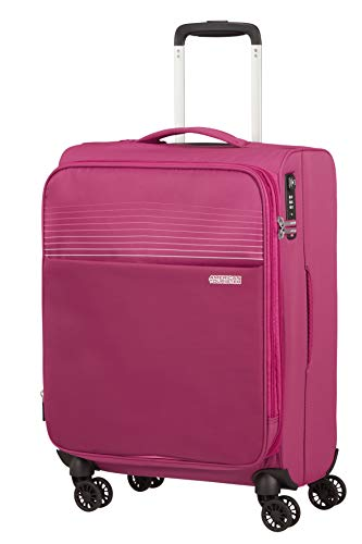 American Tourister Lite Ray Equipaje- Equipaje de mano, Spinner S erweiterbar (55 cm - 48.5 L), Magenta Haze