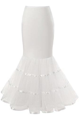 Snowskite Womens 3 Layers Floor Length Trumpet Mermaid Wedding Dress Petticoat, White, S/M
