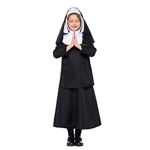 CGBF - Disfraz de monja católica de cosplay para niñas para niños, Halloween, fiesta escolar, espectáculo, color negro, 135 ~ 145