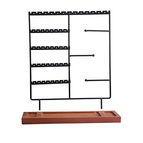 XINGFUQY Soporte para pendientes de 5 niveles con bandeja de madera, organizador de joyas para pendientes, collares, pulseras, relojes y anillos (color amarillo fluorescente)