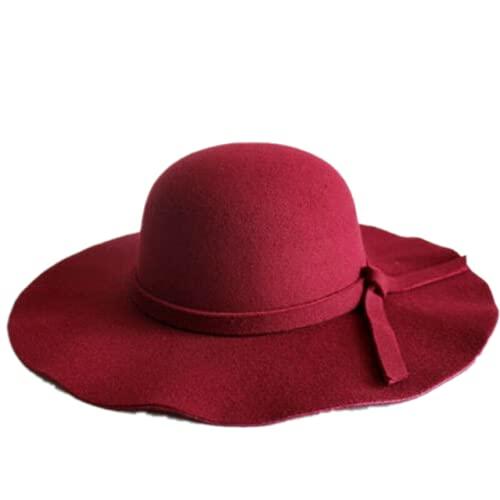 Sombrero de sol para mujer, vintage, grande, de lana, de fieltro, casual, verano, playa, viaje, flojo, sombrero de sol, rojo vino, Talla única