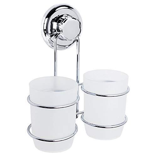 Tatkraft ODR | Zahnbürstenhalter Wand, 2 Becher Saugnapf | Einfache Montage Ohne Werkzeug | Rostschutz Für Das Bad | Ideal Für: Zahnpasta