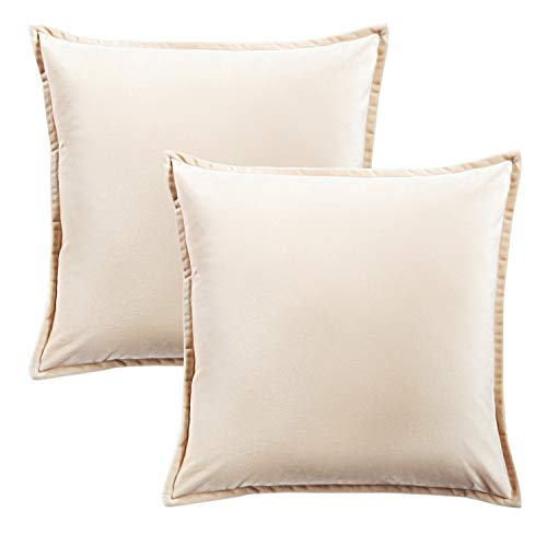 Bedsure Velvet Cushion Cover 2 Pack Cream Decorative Pillowcases for Sofa and Couch, 45cm x 45cm (18in x 18in)