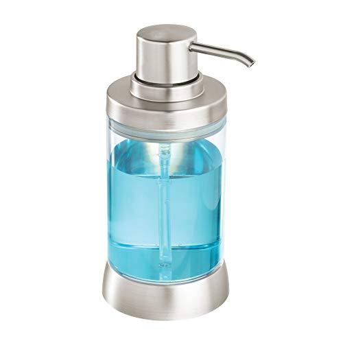 Price comparison product image iDesign Haley Liquid,  Plastic Refillable Bathroom Dispenser,  Hand Soap Pump Bottle for Sinks and Worktops,  Clear / Matte Silver,  9.7 cm x 7.6 cm x 17.1 cm