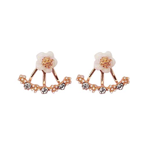AchidistviQ Funny Clip Earrings Floral Drop Stud Earrings/Flower Shape Clip on Earrings for Women Girls Birthday Graduation Party Jewelry Gift Rose Gold