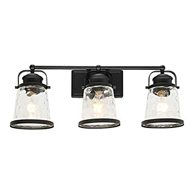 Lucidce Vanity Lights Bathroom Fixtures Black 3 Light Industrial Vintage Sconces Wall Lighting with Clear Glass Rustic Farmhouse Porch Wall Light Fixture Kitchen Bath Hallway Dressing Table Wall Mount
