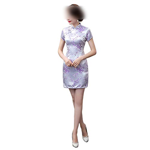 sexy-kawayi 16Qipaoサテン中国の伝統的なドレスの女性QipaoショートヴィンテージドラゴンプリントレッドチャイナスタイルのウェディングチャイナS-6X