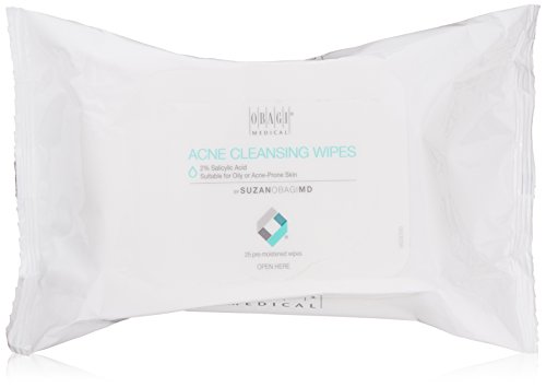 SUZANOBAGIMD On the Go Cleansing Wipes for Oily or Acne Prone Skin, 25 count