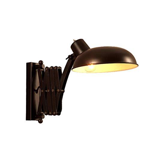 YLCJ Kreative ausziehbare Scissor Arm-Wandleuchte Schwarze Vintage-Wandlampen im Industriestil mit verstellbarem Metall-Schwenkschirm für Flur-Loftlager Terrassenbars E27 MAX 40W