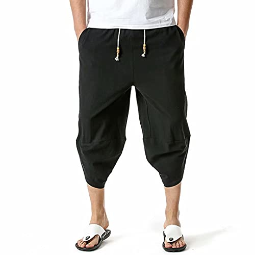FTIMILD Men's Casual Linen Yoga Pants Elastic Waist Drawstring Wide Leg Loose Harem Pants...