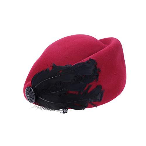 Toyvian Sombrero de azafata de plumas de mujer gorra de azafata retro de lana cosplay azafata sombrero disfraz sombreros (vino rojo)